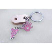 粉紅小熊積木鑰匙圈
